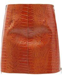 Givenchy クロコダイルパターンレザー ミニスカート - レッド