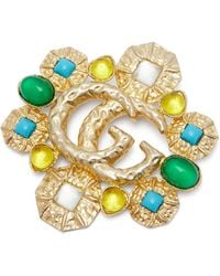 Gucci GG Marmont Embellished Brooch - Metallic