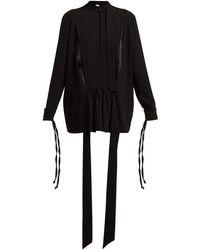 Loewe Tie-neck Contrast-panel Blouse - Black