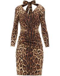 Dolce & Gabbana タイバック レオパード シルクブレンドドレス - ブラウン