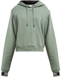 Off-White c/o Virgil Abloh Detachable Sleeve Cotton Jersey Hooded Sweatshirt - Green