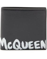 Alexander McQueen グラフィティロゴ レザー バイフォールドウォレット - ブラック