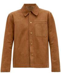 Dunhill パッチポケット スエード オーバーシャツ - ブラウン