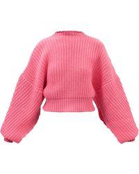 A.W.A.K.E. MODE Cold-shoulder Open-sleeve Wool-blend Sweater - Pink