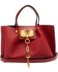 Valentino V-chain Escape Small Grained-leather Tote Bag - Red