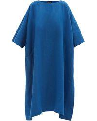 Eskandar Boat-neck Linen Midi Dress - Blue