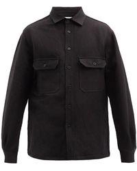 Raey Patch-pocket Linen And Wool-blend Shacket - Black