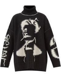 MM6 by Maison Martin Margiela インサイドアウト ウールセーター - ブラック
