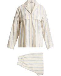 Three Graces London Moore Cotton And Linen Blend Pajama Set - White