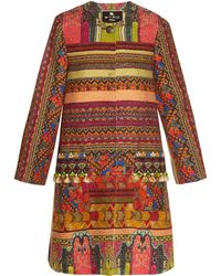 Etro - Pompom-embellished Woven Coat - Lyst