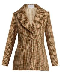 Luisa Beccaria - Hound's-tooth Checked Single-breasted Wool Jacket - Lyst