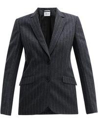 Pallas Fidji Single-breasted Chalk-striped Wool Jacket - Gray
