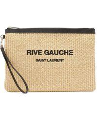 Saint Laurent リヴ ゴーシュ フェイクラフィアポーチ - マルチカラー