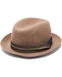 Giorgio Armani - Grosgrain-trimmed Wool-felt Trilby Hat - Lyst