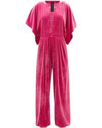 Norma Kamali Vネック プリーツ ベルベットジャンプスーツ - ピンク