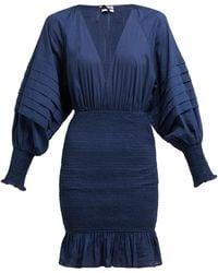 RHODE Anya Smocked Cotton-poplin Mini Dress - Blue