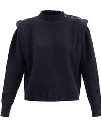 Étoile Isabel Marant Meery Exaggerated-shoulder Wool-blend Sweater - Gray