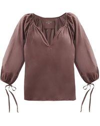 Loup Charmant Capucine Tie-cuff Organic-cotton Blouse - Brown