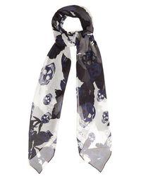 Alexander McQueen - Rose-print Silk Scarf - Lyst