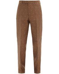 Gucci Cotton-blend Gg-jacquard Pants - Brown