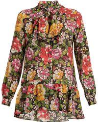 Etro | Frida Floral-print Tie-neck Silk Blouse | Lyst