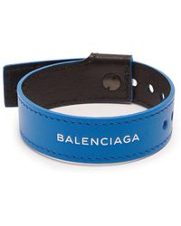 Balenciaga - Logo-print Leather Bracelet - Lyst