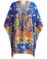 Camilla Playing Koi Print Silk Kaftan - Blue