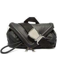 Bottega Veneta Sac ceinture en cuir à rabat triangulaire - Noir