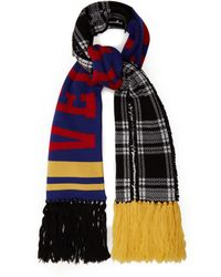 Versace - Checked Logo Intarsia Wool Scarf - Lyst