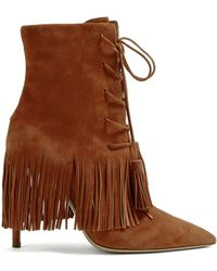 b2c49a9aef4 Lyst - Burberry Fringed Suede Peep-Toe Ankle Boots in Natural