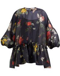 Biyan Song Botanical Print Silk Organza Blouse - Black