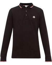 Moncler Mens Black Logo Embroidered Cotton Polo Shirt