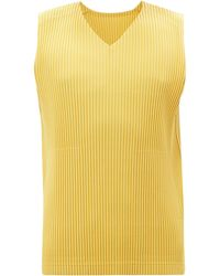 Homme Plissé Issey Miyake Technical-pleated Sleeveless Top - Yellow