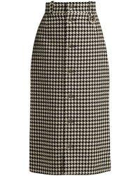 Balenciaga - Houndstooth Button-down Pencil Skirt - Lyst