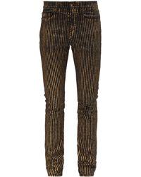 Saint Laurent Metallic-stripe Slim-leg Jeans