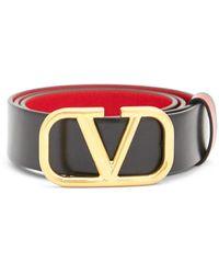 Valentino Vロゴ レザーベルト - ブラック