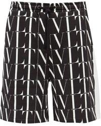 Valentino Vltnロゴ コットンブレンド ショートパンツ - ブラック