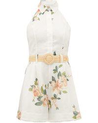 Zimmermann Kirra Halterneck Floral-print Linen Playsuit - White