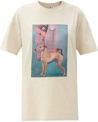 Acne Studios Elice Painted Dog-print Cotton T-shirt - White