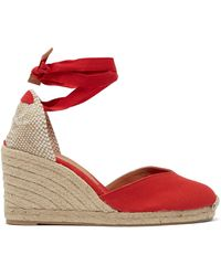 Castaner Carina 80 Canvas & Jute Espadrille Wedges - Red