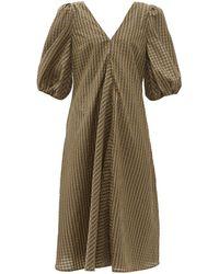 Ganni - Gingham Seersucker Dress - Lyst