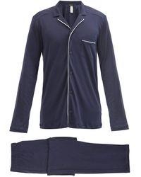 Hanro Night And Day Piped Cotton-jersey Pyjamas - Blue