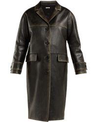 Miu Miu - Long Distressed-leather Coat - Lyst