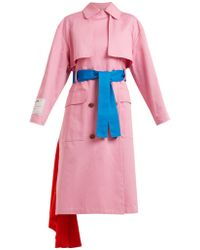 MSGM - Double-breasted Cotton Trench Coat - Lyst