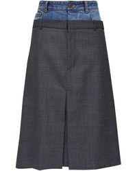 Balenciaga ダブルウエストバンド デニム&ツイルスカート - マルチカラー
