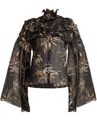 Rodarte - Palm Print Silk Chiffon Blouse - Lyst