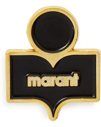 Isabel Marant - Logo Embellished Gold Tone Brass And Resin Brooch - Lyst