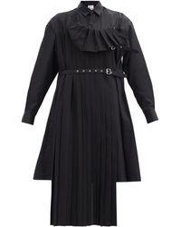 Noir Kei Ninomiya プリーツパネル コットンチュニックシャツ - ブラック