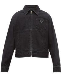 Prada - Logo Plaque Cotton Denim Jacket - Lyst