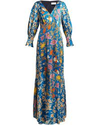 Peter Pilotto Floral-print Hammered Silk-blend Gown - Blue